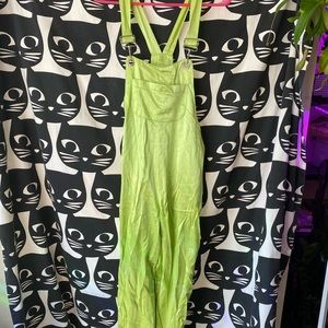 90s lime green satin overalls